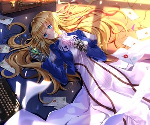 Rating: Safe Score: 65 Tags: aqua_eyes blonde_hair cropped dress long_hair ribbons swordsouls techgirl violet_evergarden violet_evergarden_(character) User: RyuZU