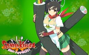 Rating: Safe Score: 49 Tags: apron asuka_(senran_kagura) black_hair brown_eyes food green logo ponytail school_uniform senran_kagura senran_kagura:_bon_appetit skirt tagme_(artist) tie User: RyuZU