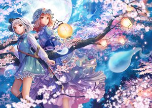 Rating: Safe Score: 182 Tags: flowers katana konpaku_youmu moon myon petals saigyouji_yuyuko siro sword touhou weapon User: opai
