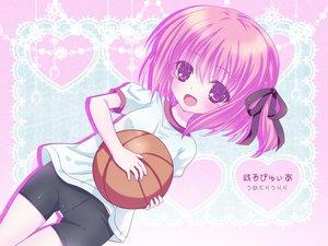 Rating: Safe Score: 66 Tags: ball basketball bike_shorts gym_uniform minato_tomoka pink_hair purple_eyes ribbons ro-kyu-bu! short_hair shorts sport umetori_uriri User: SciFi