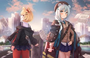 Rating: Safe Score: 76 Tags: 2girls animal_ears aqua_eyes aqua_hair arknights blonde_hair blush bnari book braids building city clouds garter glasses gum_(arknights) hat istina_(arknights) long_hair open_shirt ponytail school_uniform short_hair skirt sky tie User: BattlequeenYume