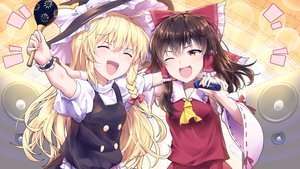 Rating: Safe Score: 34 Tags: 2girls black_hair blonde_hair blush bow braids brown_eyes hakurei_reimu hat instrument japanese_clothes kirisame_marisa kisamu_(ksmz) long_hair miko tie touhou wink witch witch_hat wristwear User: RyuZU