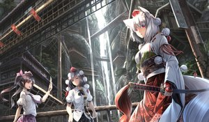 Rating: Safe Score: 65 Tags: aliasing animal_ears brown_hair building city hat headdress himekaidou_hatate inubashiri_momiji japanese_clothes katana long_hair phone pointed_ears red_eyes ryosios shameimaru_aya sword tail touhou tree twintails water waterfall weapon white_hair wolfgirl User: luckyluna