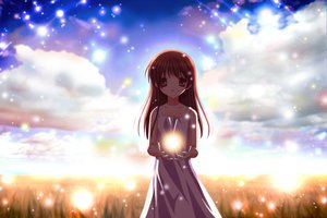 Rating: Safe Score: 56 Tags: brown_hair clannad dress illusionary_girl long_hair summer_dress User: 秀悟