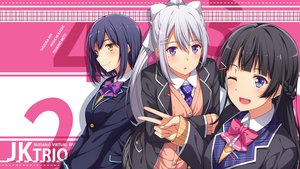 Rating: Safe Score: 39 Tags: black_hair blue_hair blush bow braids close higuchi_kaede long_hair nijisanji ponytail purple_eyes school_uniform shizuka_rin short_hair tsukino_mito white_hair wink yellow_eyes yuuri_nayuta User: RyuZU