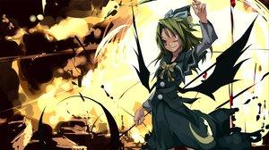 Rating: Safe Score: 25 Tags: dress green_eyes green_hair hat long_hair mima ribbons shimadoriru touhou wings User: 秀悟