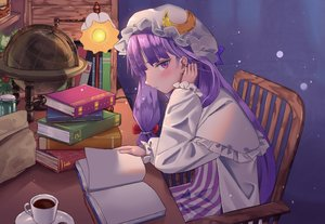 Rating: Safe Score: 32 Tags: blush book dress drink hat long_hair maachi_(fsam4547) patchouli_knowledge purple_eyes purple_hair touhou User: otaku_emmy