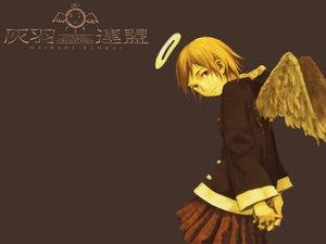 Rating: Safe Score: 11 Tags: abe_yoshitoshi brown brown_eyes brown_hair haibane_renmei halo rakka short_hair skirt wings User: atlantiza