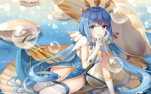 Rating: Safe Score: 62 Tags: aqua_eyes blue_hair blush breasts elbow_gloves gloves long_hair original spear thighhighs twintails weapon yuhuan User: RyuZU