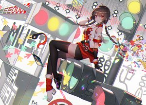 Rating: Safe Score: 95 Tags: braids breasts brown_hair cleavage elbow_gloves gloves long_hair ponytail pre_(pixiv17194196) red_eyes shorts signed thighhighs vocaloid vocaloid_china yuezheng_ling zettai_ryouiki User: BattlequeenYume