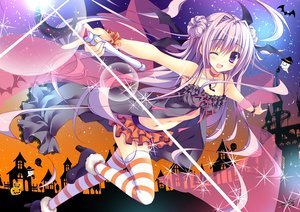 Rating: Safe Score: 207 Tags: breasts choker cleavage halloween long_hair nanaroba_hana navel original purple_eyes purple_hair skirt stockings thighhighs wand wink User: Wiresetc