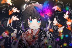 Rating: Safe Score: 57 Tags: animal aqua_eyes black_hair blush butterfly fish japanese_clothes kimono original short_hair signed urim_(paintur) water User: otaku_emmy