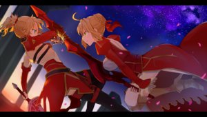 Rating: Safe Score: 116 Tags: 2girls armor blonde_hair dress fate/apocrypha fate/extra fate/grand_order fate_(series) green_eyes hsin mordred nero_claudius_(fate) petals ponytail sword weapon User: Flandre93