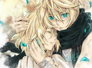 Rating: Safe Score: 82 Tags: aqua_eyes blonde_hair kagamine_len kagamine_rin male petals vocaloid User: HawthorneKitty