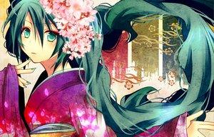 Rating: Safe Score: 100 Tags: aqua_eyes aqua_hair flowers hatsune_miku headdress japanese_clothes kimono petals shiomidu twintails vocaloid User: HawthorneKitty