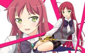 Rating: Safe Score: 43 Tags: bow braids breasts green_eyes hataraku_maou-sama! long_hair red_hair skirt sword twinpon weapon yusa_emi zoom_layer User: RyuZU