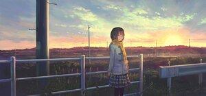 Rating: Safe Score: 20 Tags: feel_(nasitaki) grass original scarf scenic short_hair sky sunset User: FormX