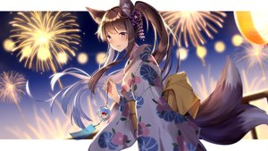 Rating: Safe Score: 55 Tags: animal_ears blush brown_hair fireworks foxgirl itsia japanese_clothes long_hair multiple_tails night ponytail purple_eyes suzune_(teria_saga) tail teria_saga yukata User: BattlequeenYume
