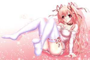 Rating: Safe Score: 91 Tags: blush choker nohoho original pink_hair red_eyes thighhighs User: FormX