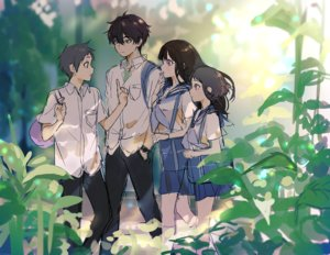 Rating: Safe Score: 34 Tags: black_hair brown_eyes chitanda_eru fukube_satoshi green_eyes group hyouka ibara_mayaka kneehighs male mery_(apfl0515) oreki_houtarou pink_eyes purple_eyes school_uniform sketch skirt User: RyuZU