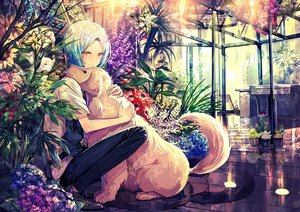 Rating: Safe Score: 23 Tags: all_male animal apron aqua_hair dog flowers hug male original short_hair tagme_(artist) waifu2x yellow_eyes User: BattlequeenYume