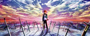 Rating: Safe Score: 140 Tags: all_male clouds dualscreen emiya_shirou fate_(series) fate/stay_night magicians male red_hair scenic short_hair sky sword weapon User: Flandre93