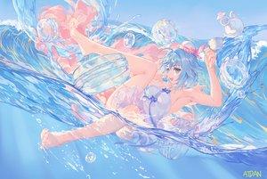 Rating: Safe Score: 81 Tags: atdan barefoot blue_eyes blue_hair dress haiyi short_hair signed vocaloid water User: BattlequeenYume