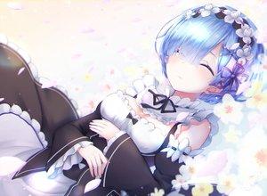 Rating: Safe Score: 69 Tags: apron blue_hair bow breasts chiutake_mina flowers gradient headdress maid petals rem_(re:zero) re:zero_kara_hajimeru_isekai_seikatsu short_hair User: RyuZU