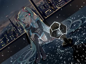 Rating: Safe Score: 167 Tags: aqua_eyes aqua_hair boots city elea_(artist) hatsune_miku long_hair night stars sunset thighhighs twintails vocaloid User: Flandre93