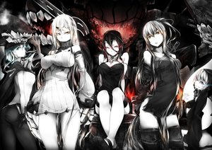 Rating: Safe Score: 234 Tags: aircraft_carrier_oni aliasing anthropomorphism battleship_hime bikini_top black_hair blue_eyes breasts cape choker cleavage dress gloves group hat horns kantai_collection long_hair milaria pink_eyes re-class_battleship red_eyes scarf seaport_hime short_hair skintight thighhighs white_hair wo-class_aircraft_carrier yellow_eyes User: kokiriloz