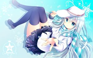 Rating: Safe Score: 72 Tags: anthropomorphism aqua_eyes blush hat hibiki_(kancolle) kantai_collection long_hair scarf seifuku shirogane_hina snow thighhighs verniy_(kancolle) white_hair zettai_ryouiki User: RyuZU