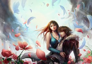 Rating: Safe Score: 194 Tags: brown_hair feathers final_fantasy final_fantasy_viii flowers fooltown gray_eyes long_hair male necklace petals rinoa_heartilly short_hair squall_leonhart wristwear User: FormX