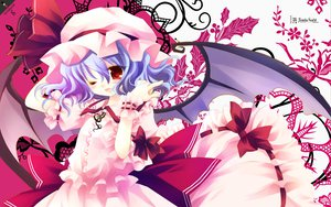 Rating: Safe Score: 42 Tags: bow dress hat hiiragi_ryo red_eyes remilia_scarlet ribbons touhou vampire wings wink User: HawthorneKitty
