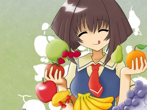 Rating: Safe Score: 6 Tags: brown_hair food fruit karin maaka_karin school_uniform User: Oyashiro-sama