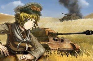 Rating: Safe Score: 47 Tags: blonde_hair combat_vehicle fat_(artist) grass hat toramaru_shou touhou uniform yellow_eyes User: PAIIS