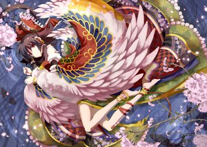 Rating: Safe Score: 59 Tags: 9ji barefoot black_hair cherry_blossoms feathers flowers hakurei_reimu japanese_clothes miko red_eyes ribbons touhou wings User: w7382001