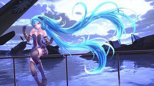 Rating: Safe Score: 71 Tags: aircraft blue_hair boots breasts cleavage clouds elbow_gloves hatsune_miku long_hair purple_eyes ruins skirt thighhighs twintails vocaloid water wristwear yusuke User: humanpinka