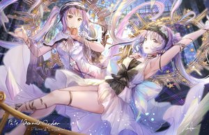 Rating: Safe Score: 68 Tags: 2girls brown_eyes euryale fate/grand_order fate_(series) headdress koroneko_p0w0q long_hair purple_hair signed stheno twintails User: RyuZU