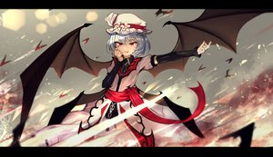 Rating: Safe Score: 62 Tags: animal bat blue_hair dress fang hat red_eyes remilia_scarlet short_hair touhou tttanggvl vampire wings User: otaku_emmy