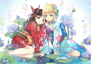 Rating: Safe Score: 119 Tags: 2girls artoria_pendragon_(all) blonde_hair braids brown_hair ekira_nieto fate_(series) fate/stay_night flowers green_eyes japanese_clothes kimono leaves saber socks tohsaka_rin twintails water User: otaku_emmy