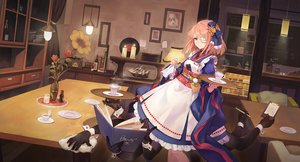 Rating: Safe Score: 20 Tags: book bow brown_eyes criin_(659503) drink eyepatch forever_7th_capital japanese_clothes lolita_fashion pink_hair short_hair tagme_(character) waitress wristwear User: RyuZU