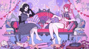Rating: Safe Score: 36 Tags: barefoot black_eyes black_hair bow braids candy couch dress elbow_gloves garter gloves headdress long_hair original polychromatic red_eyes red_hair signed thighhighs umishima_senbon User: otaku_emmy