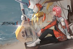 Rating: Safe Score: 34 Tags: closz darling_in_the_franxx green_eyes logo long_hair mecha pantyhose pink_hair signed uniform watermark zero_two User: RyuZU