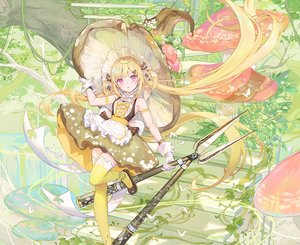 Rating: Safe Score: 83 Tags: apron atdan blonde_hair bow butterfly cropped dress gloves hat leaves long_hair pink_eyes shian_(synthv) stairs synthesizer_v thighhighs twintails weapon witch_hat zettai_ryouiki User: otaku_emmy
