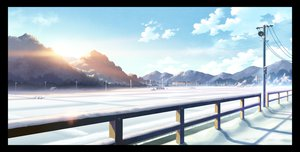 Rating: Safe Score: 129 Tags: byousoku_5_centimetre clouds landscape mocha_(cotton) nobody original scenic sky snow train User: opai