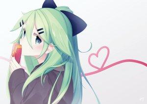 Rating: Safe Score: 24 Tags: anthropomorphism blue_eyes close green_hair hoodie iyama_nami kantai_collection long_hair ponytail valentine white yamakaze_(kancolle) User: sadodere-chan