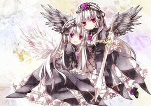 Rating: Safe Score: 98 Tags: dress flowers moru red_eyes rose rozen_maiden suigintou sword weapon wings User: opai