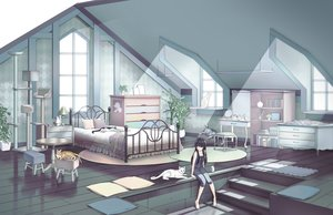 Rating: Safe Score: 45 Tags: animal barefoot bed black_eyes black_hair book cat gonzz_(gon2rix) long_hair original scenic stairs User: BattlequeenYume