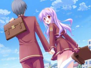 Rating: Safe Score: 25 Tags: game_cg purple_hair red_eyes school_uniform valentine_pink yamabuki_renge_(canvas) User: korokun