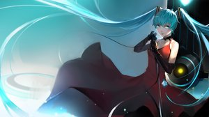 Rating: Safe Score: 74 Tags: aqua_eyes aqua_hair breasts choker cleavage dress elbow_gloves hatsune_miku long_hair microphone nero_(nilu) twintails vocaloid User: Flandre93
